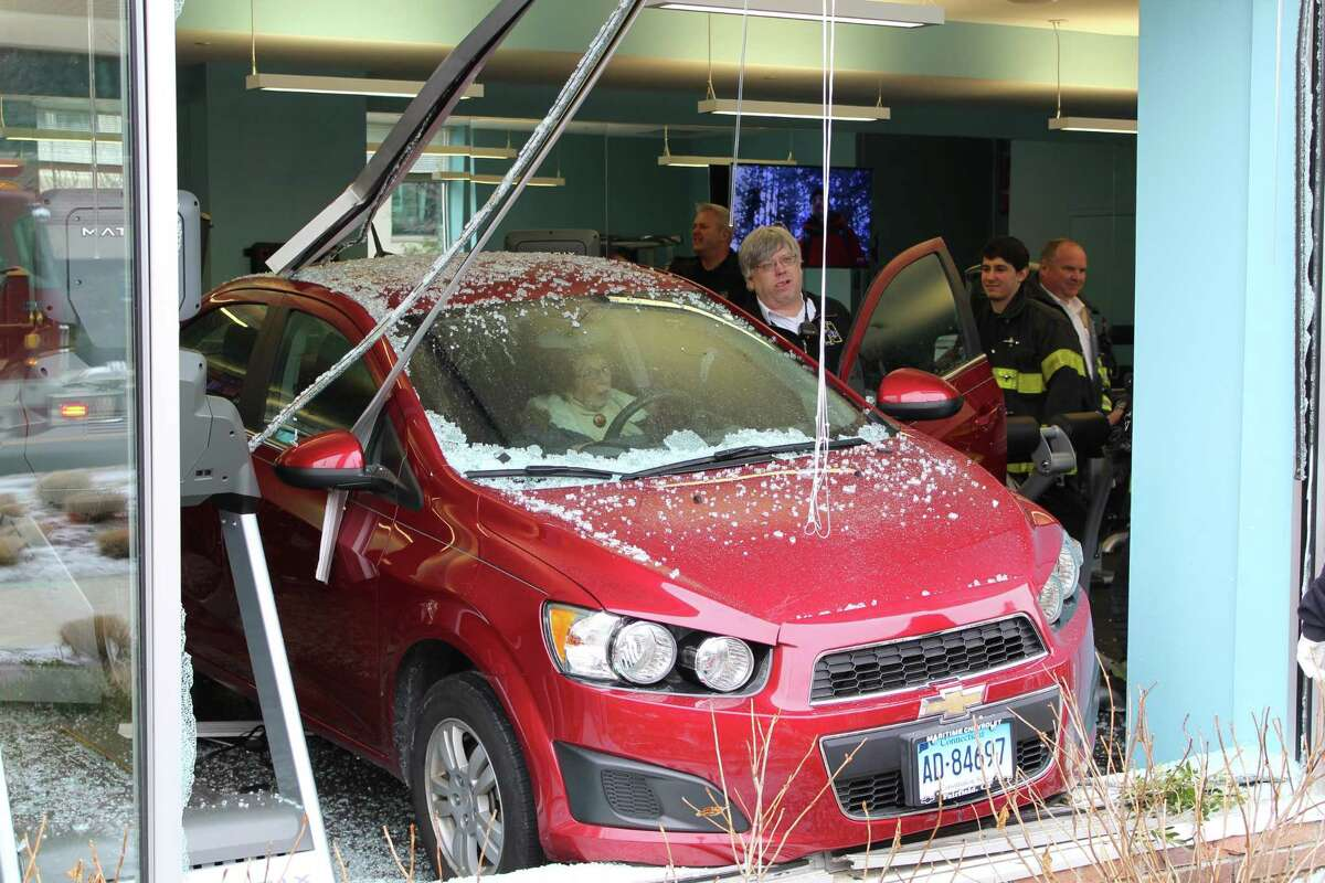 An elderly female driver drove through two windows at an upscale apartment complex at 1 Glover Ave. in Norwalk, Conn. on Friday, Feb. 9, 2018