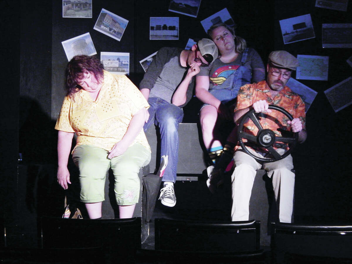"""Members of the cast of """"Leaving Iowa"""" - Barb Gatlin (from left), Drew Stroud, Carly Holmes and John Steckel - are shown in a scene from the comedy, which opens Friday at the Jacksonville Theatre Guild's Studio Theatre at 210 W. College Ave."""