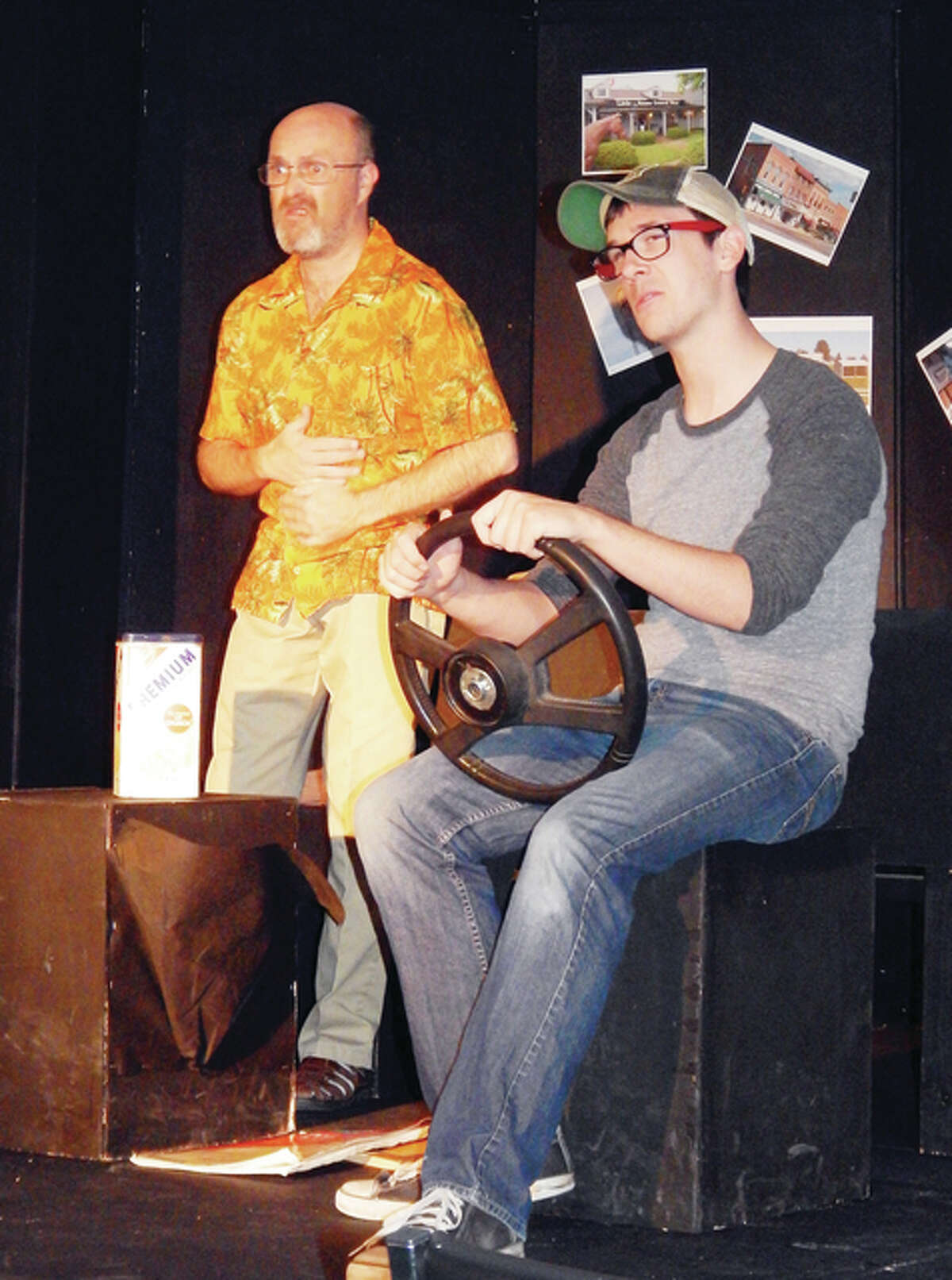"""John Steckel (left) and Drew Stroud share a father-son moment in the play """"Leaving Iowa."""""""