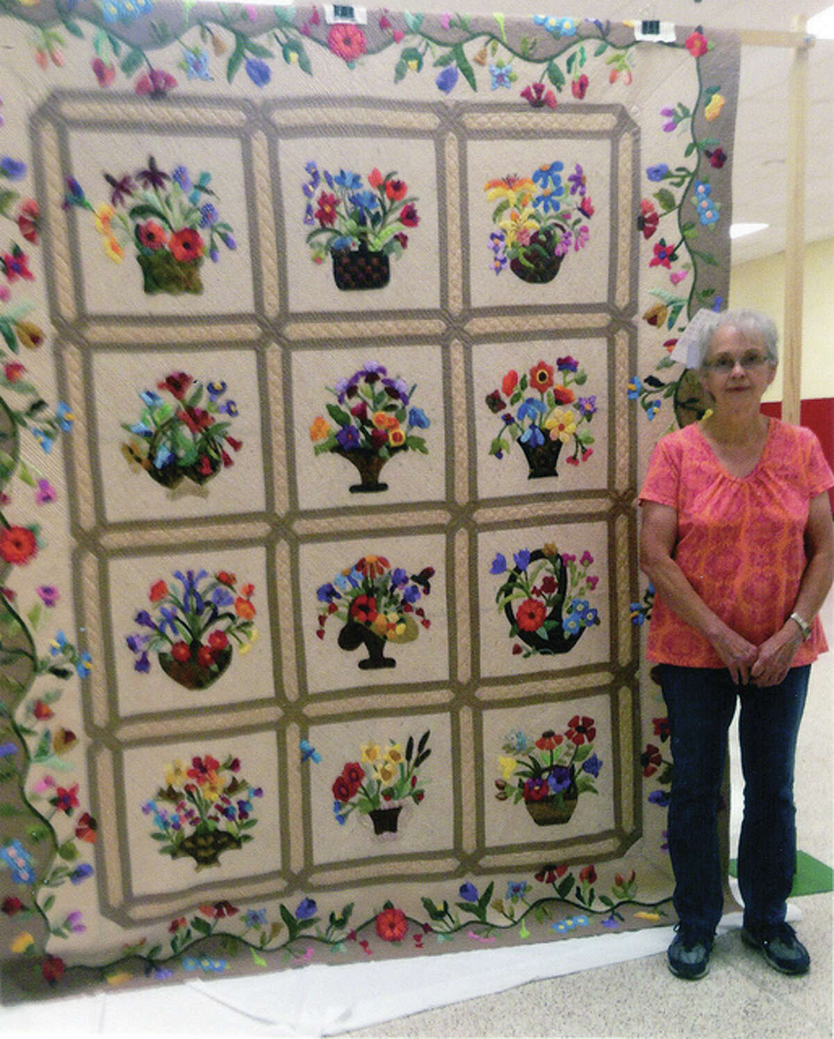 """Photo provided The Viewers' Choice Award for a quilt at the River Country Quilt Show went to Bonnie Meyers of Palmyra, Missouri. The quilt, titled """"Blossoms of Friendship,"""" will be displayed at next year's show."""