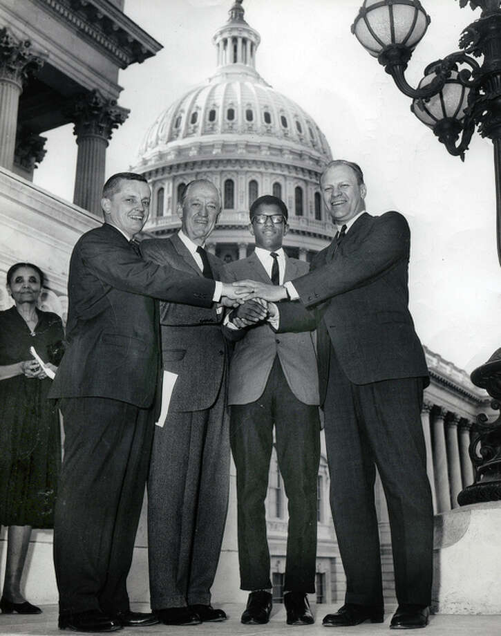 Collection of the U.S. House of Representatives Frank Mitchell stands outside the U.S. Capitol in 1965 after being appointed the first African-American congressional page. His history-setting appointment was made by Gerald Ford through former Congressman Paul Findley of Jacksonville.