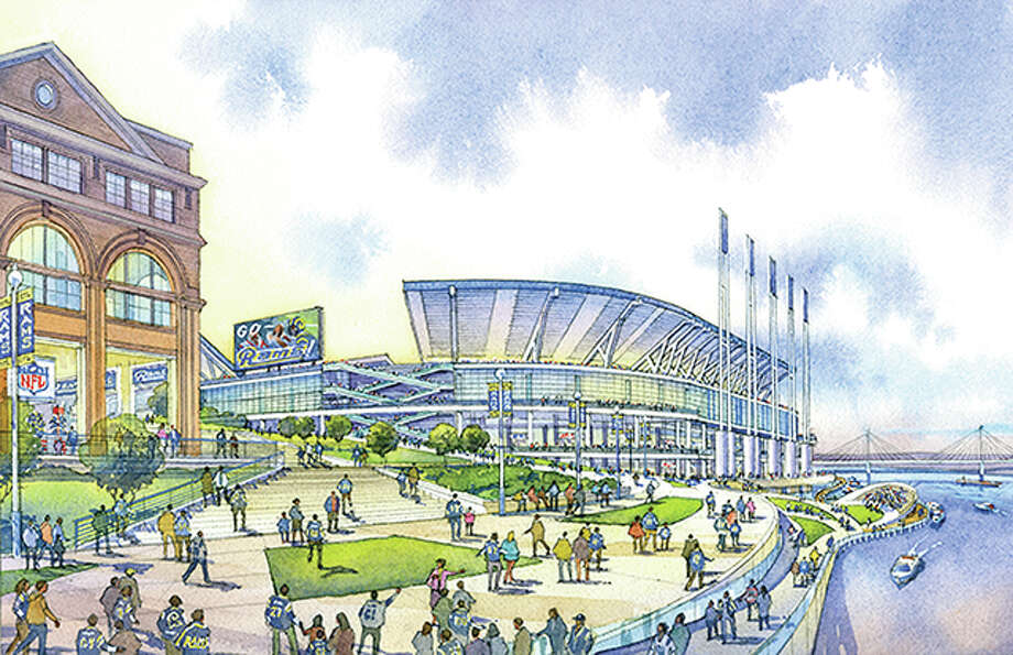 An artist's rendering of the proposed new stadium for the St. Louis Rams. It would be constructed on the St. Louis Riverfront north of the Gateway Arch. Photo: HOK Architects