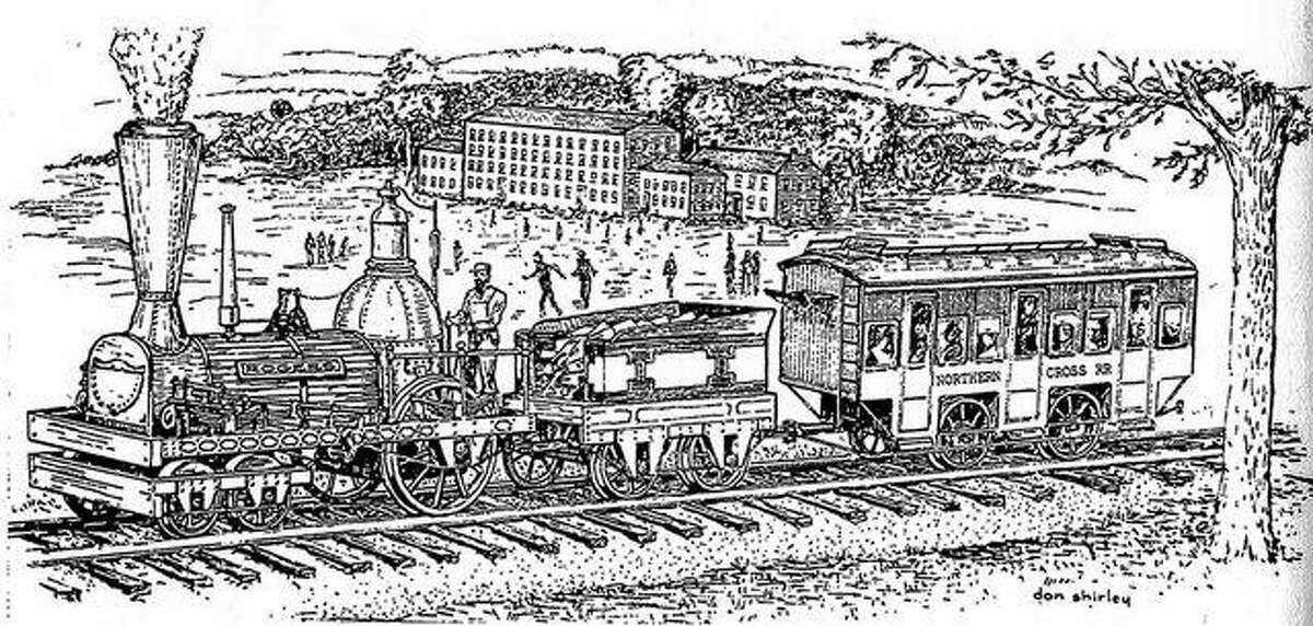 This sketch depicts a train on the Northern Cross Railroad passing by Illinois College in Jacksonville in 1839. The Northern Cross was the first railroad in Illinois. It ran from Meredosia to Springfield.