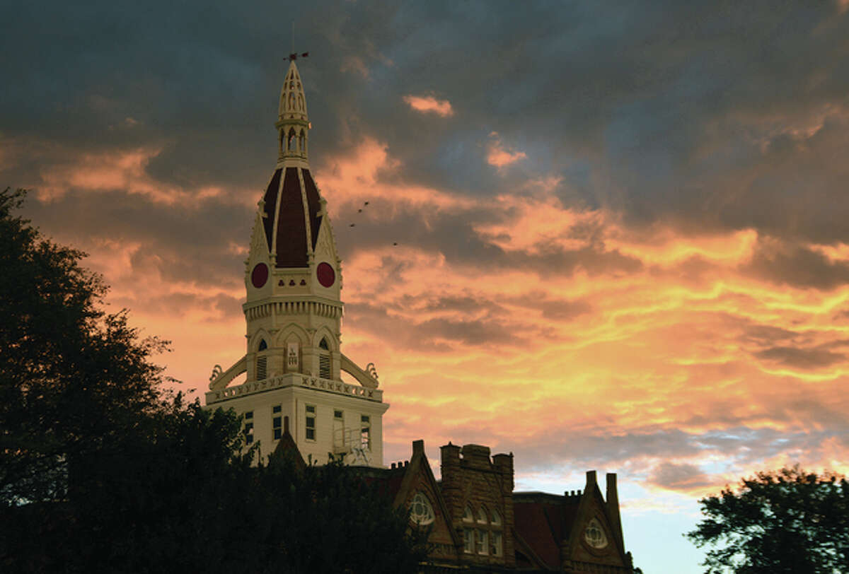 Sunrise creates a colorful glow surrounding the Pike County Courthouse in Pittsfield.