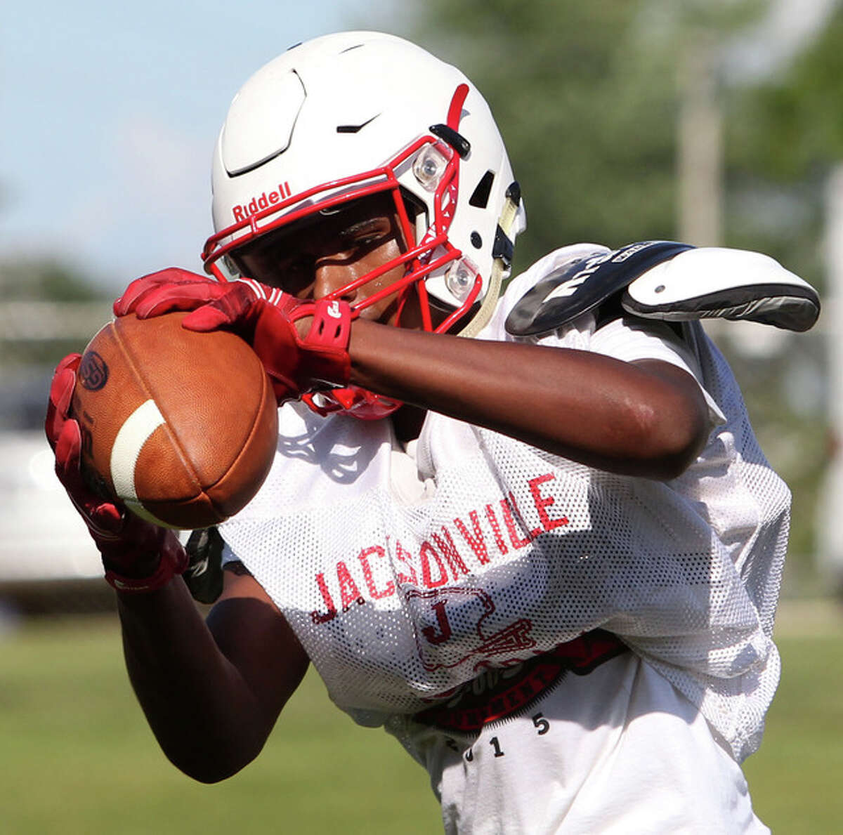 Jacksonville's James White pulls in a pass during practice earlier this week.