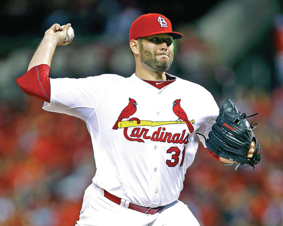 Cardinals starter Lance Lynn delivers a pitch to the San Francisco Giants in the seventh inning Tuesday at Busch Stadium. Lynn allowed four hits in 6 2-3 innings. Photo: Billy Hurst | For The Telegraph