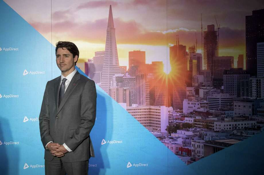 Canadian Prime Minister Justin Trudeau listens at a press conference in San Francisco on Feb. 8, 2018. Photo: Bloomberg Photo By David Paul Morris. / 2018 Bloomberg Finance LP