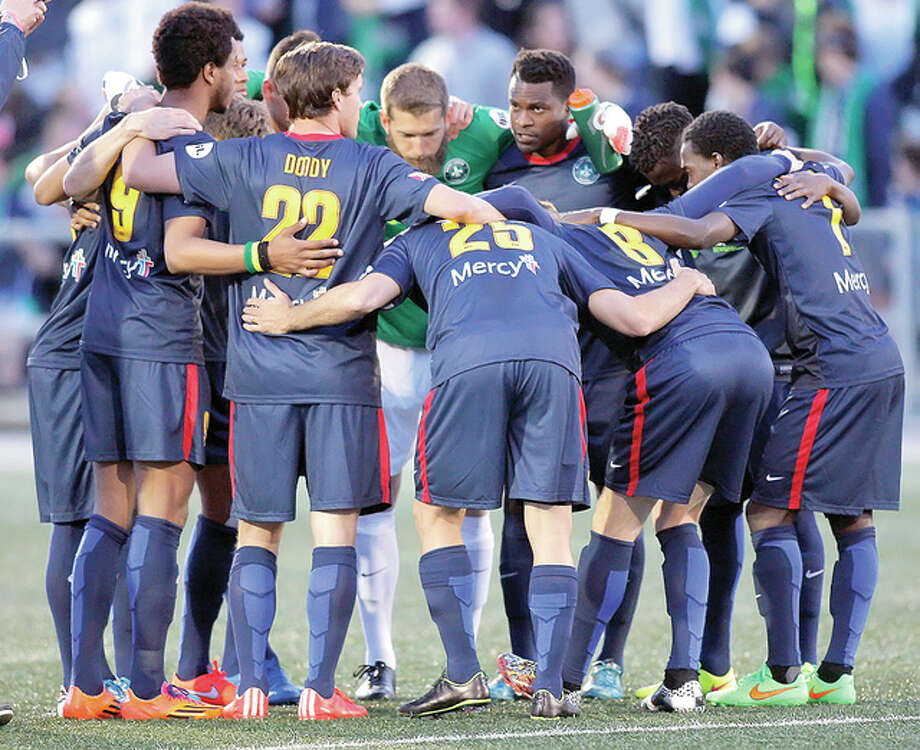 Saint Louis FC players huddle prior to the start of a gameearlier this season at World Wide Technology Soccer Park in Fenton. STLFC will play host to the Charleston Battery at 7 p.m. Thursday. Photo: Scott Kane | For The Telegraph