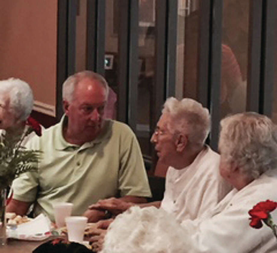 State Rep. Dan Beiser, D-Alton, visits Wednesday with residents of Foxes Grove Retirement Community in Wood River. Photo: For The Telegraph