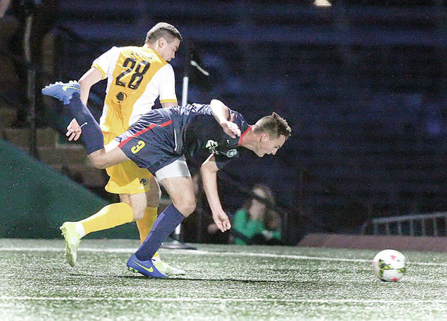 Saint Louis FC's Sam Fink, front, an Edwardsville High and Wake Forest University grad, scored the tying goal late in Thursday's comeback win over Charleston at Soccer Park in Fenton. He is shown here in action earlier this season. Photo: Scott Kane | For The Telegraph