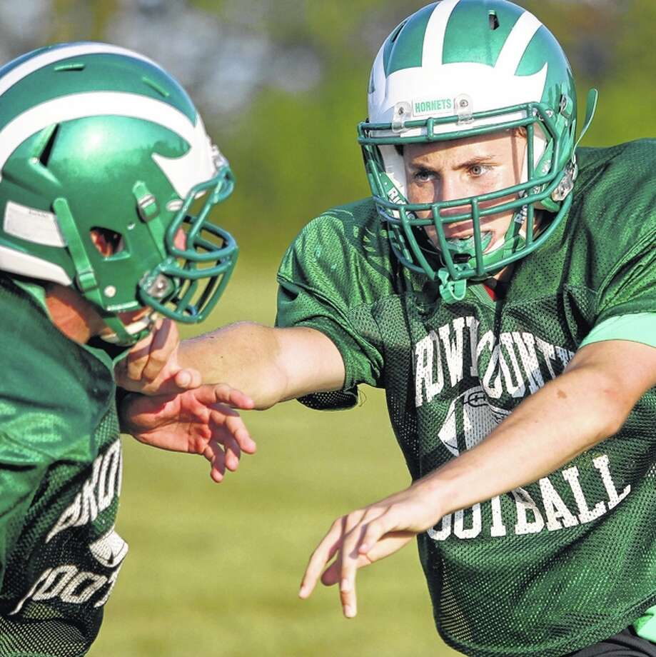 Brown County players work on blocking technique during a recent practice. Photo: Dennis Mathes | Journal-Courier
