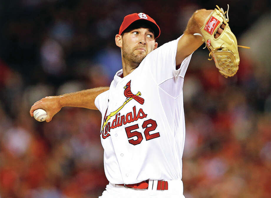 Cardinals pitcher Michael Wacha, shown during his start last Monday against the Giants at Busch Stadium, worked six innings Sunday to pick up his 15th win in the Cards' victory over the Padres in San Diego. Photo: Billy Hurst / For The Telegraph