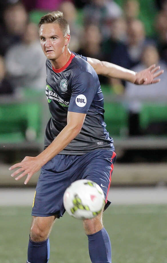 Saint Louis FC defender Sam Fink of Edwardsville, shown in action earlier this season, was named to the United Socccer League Team of the Week for his role in a comeback win over Charleston. Photo: Scott Kane | For The Telegraph
