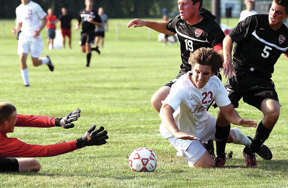Alton's Eric Ferenbach (26) scored a goal in Wednesday night's 3-0 victory over Sacred Heart-Griffin in Springfield. He is shown in action during an Alton game last season. Photo: Telegraph File Photo
