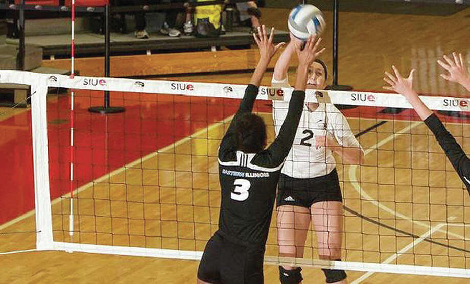 Taylor Joens of SIUE recorded a career-best 14 kills Friday as SIUE volleyball won its season opener over Akron at the 2015 Hampton Inn Leatherneck Invitational in Macomb. Photo: SIUE