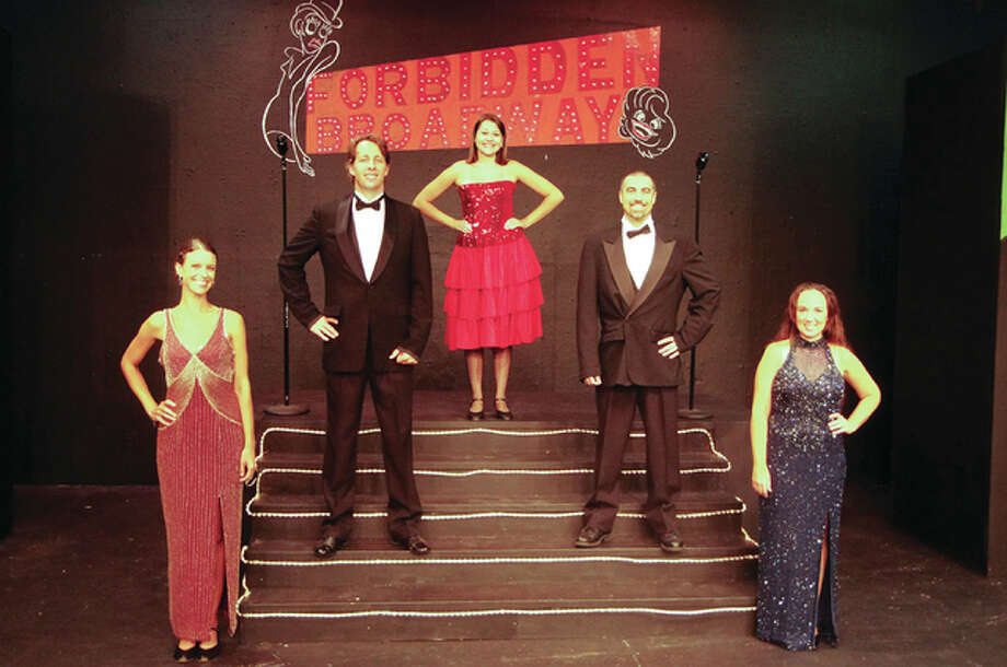 """Alison Neace, Shawn Neace, Ashton Marshall, Jeremy LeBrun and Julia Frazier in Alton Little Theater's production of """"Forbidden Broadway."""" Photo: For The Telegraph"""