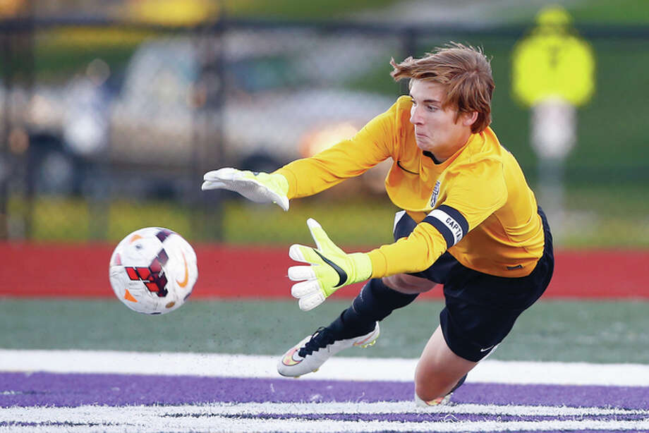 Marquette goalkeeper Brandon Sanfilippo made eight saves in Saturday's 1-1 tie with Althoff in a game played at Southwestern Illinois College in Belleville. He is shown in action earlier this season against Collinsville. Photo: Billy Hurst | For The Telegraph