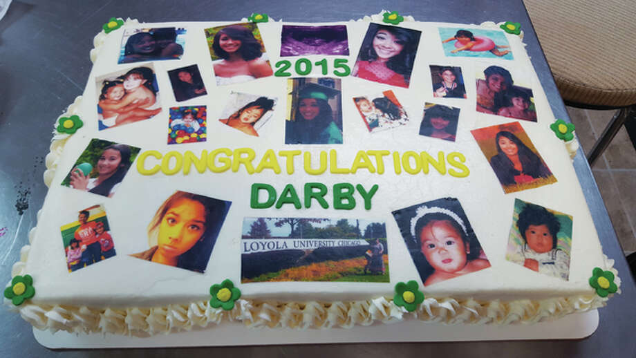 "Sweet Indulgences owner, Michelle Davenport, made her daughter, Darby, 18, a ""photo"" cake for her high school graduation. Davenport prints edible ink images onto edible icing sheets and overlays those onto her cakes. These image cakes are highly anticipated desserts for anniversaries, graduations and milestone birthdays, especially those when pictures of a person through the years add to the celebration. Photo: Michelle Davenport 