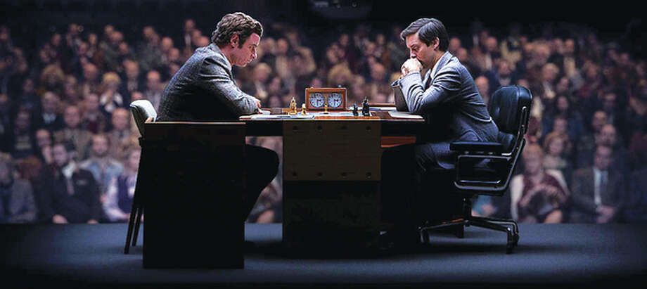 """Pawn Sacrifice"" tells the gripping true story set during the height of the Cold War of American chess prodigy Bobby Fischer (Tobey Maguire), right. Photo: For The Telegraph"