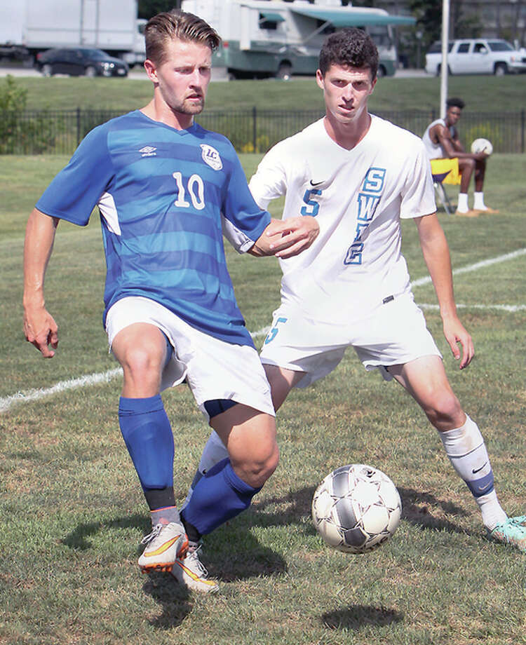 LCCC's Lochlan Reus (10) scored a pair of penalty kicks Saturday to help the Trailblazers beat rival St. Louis Community College 3-1 at Florissant Valley Community College. Photo: S. Paige Allen | For The Telegraph