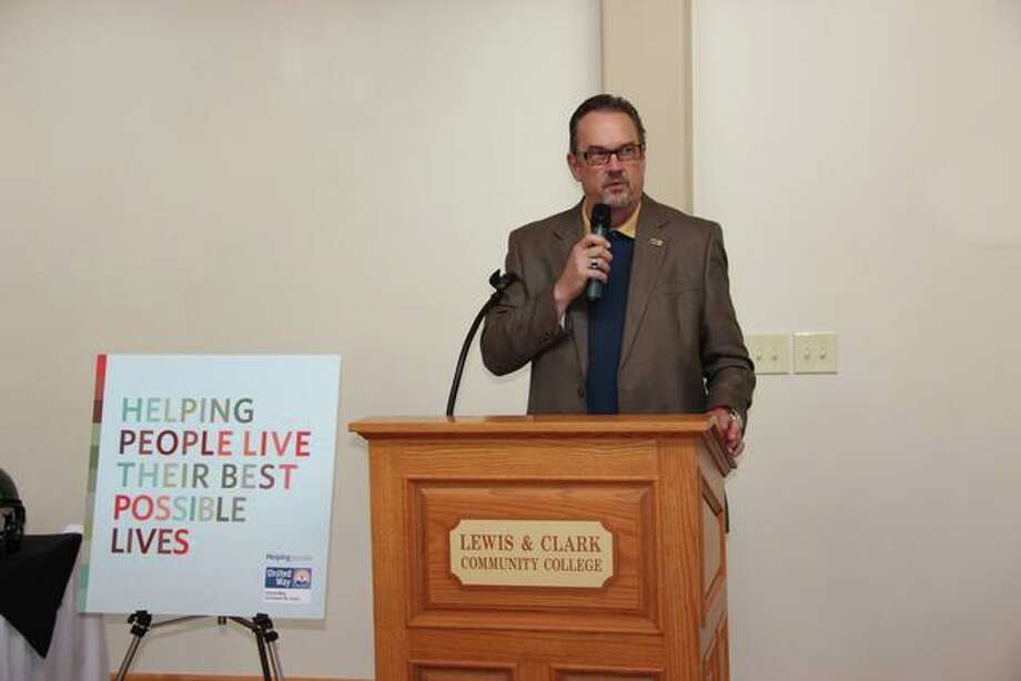 The Telegraph publisher Jim Shrader speaks at the 2015 Southwest Illinois Division Campaign Kickoff event on Sept. 3.