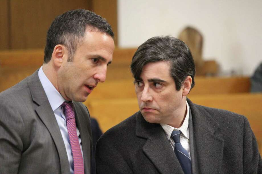 Robert Kelly, at right, appared in Norwalk Superior Court on Friday to be arraigned on charges of possession of child pornography. He was represented by Attorney Mark Sherman, left. Photo: Contributed / Contributed Photo / Westport News
