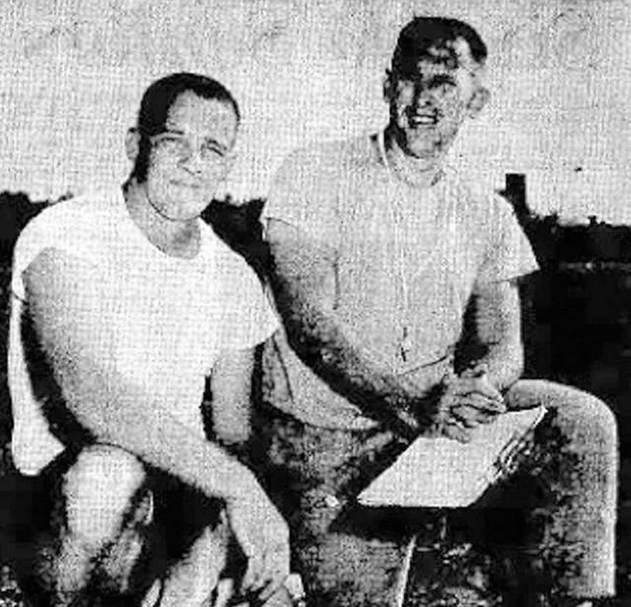 Ed Yonkus and assistant coach Gary Brandt as they appeared in a September, 1965 photo from the Alton Evening Telegraph's preseason football edition. Photo: Telegraph File Photo
