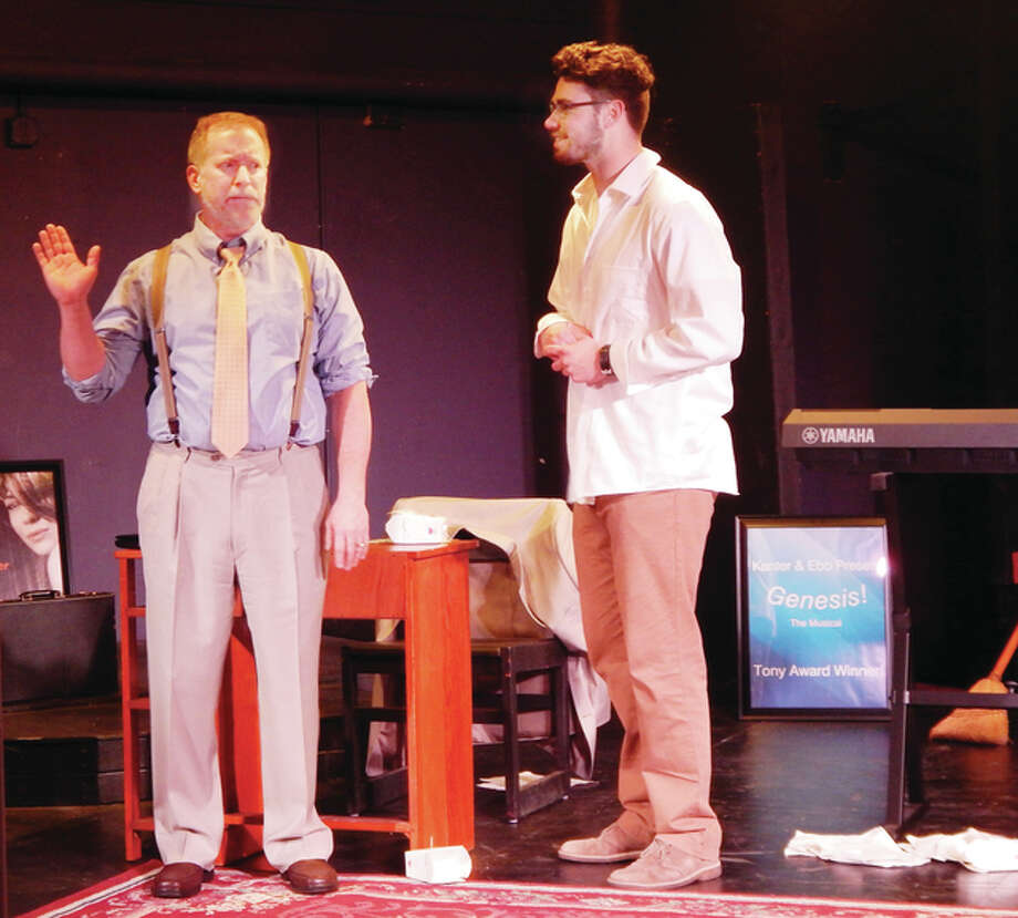 """Jim Yale (left) and John Love rehearse a scene Monday from """"The Boys From Nantucket,"""" a new play by Ken Bradbury and Love that opens today at Playhouse on the Square in downtown Jacksonville. Photo: Angela Bauer 