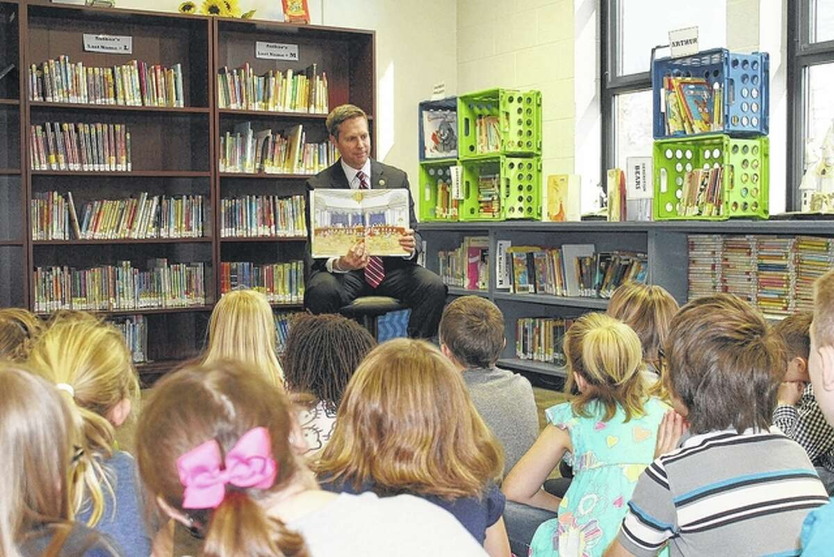 """Photo provided Congressman Rodney Davis reads """"House Mouse, Senate Mouse"""" to Jerseyville East Elementary School students in celebration of Read Across America Day. The day encourages parents to read to their children and recognizes the importance of education."""