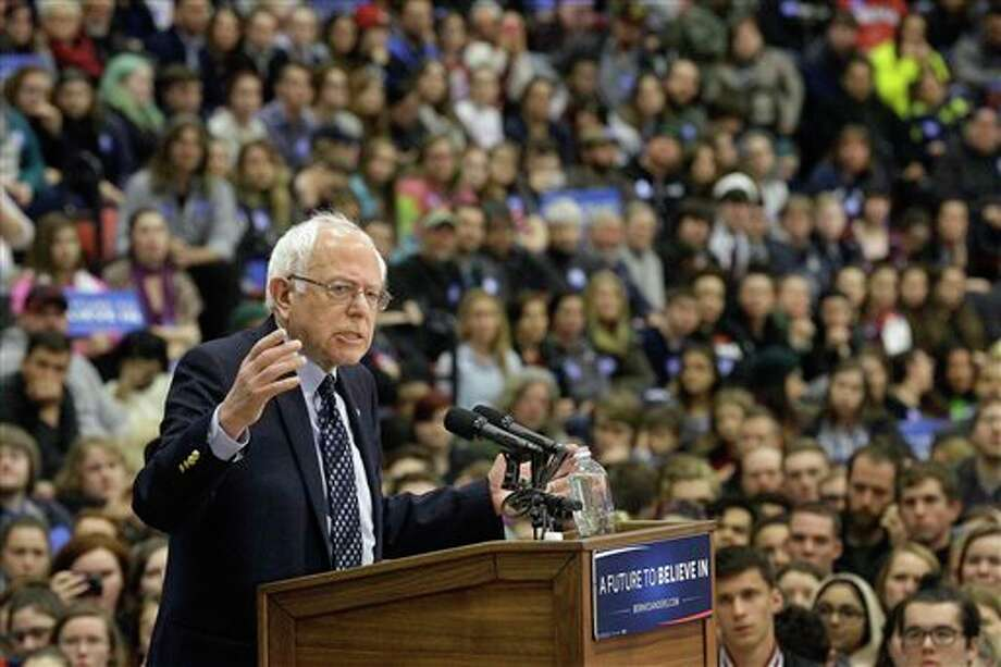 Democratic presidential candidate, Sen. Bernie Sanders, I-Vt. speaks during a campaign rally at Southern Illinois University Edwardsville, Friday, March 4, 2016, in Edwardsville. (AP Photo/Seth Perlman)