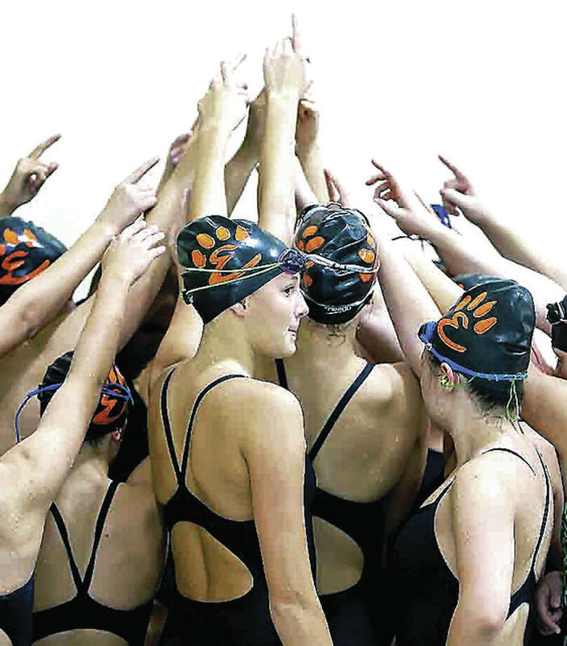 The Edwardsville girls swim team won a triangular meet from Springfield High and Sacred Heart-Grffin Saturday at the Eisenhower Pool in Springfield Photo: Scott Kane | For The Telegraph