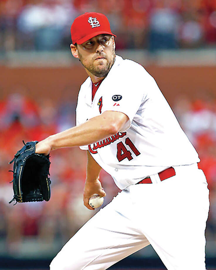 Cardinals pitcher John Lackey, shown in a start Aug. 31 against the Nationals, gave up one run in seven innings in his final home start Sunday against the Brewers at Busch Stadium. Photo: Billy Hurst / For The Telegraph