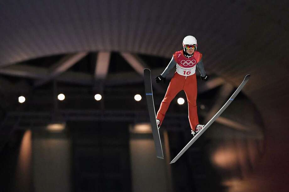 PYEONGCHANG-GUN, SOUTH KOREA - FEBRUARY 08:  Casey Larson of the United States competes in the Men's Normal Hill Individual Qualification at Alpensia Ski Jumping Centre on February 8, 2018 in Pyeongchang-gun, South Korea. Photo: Quinn Rooney, Getty Images / 2018 Getty Images