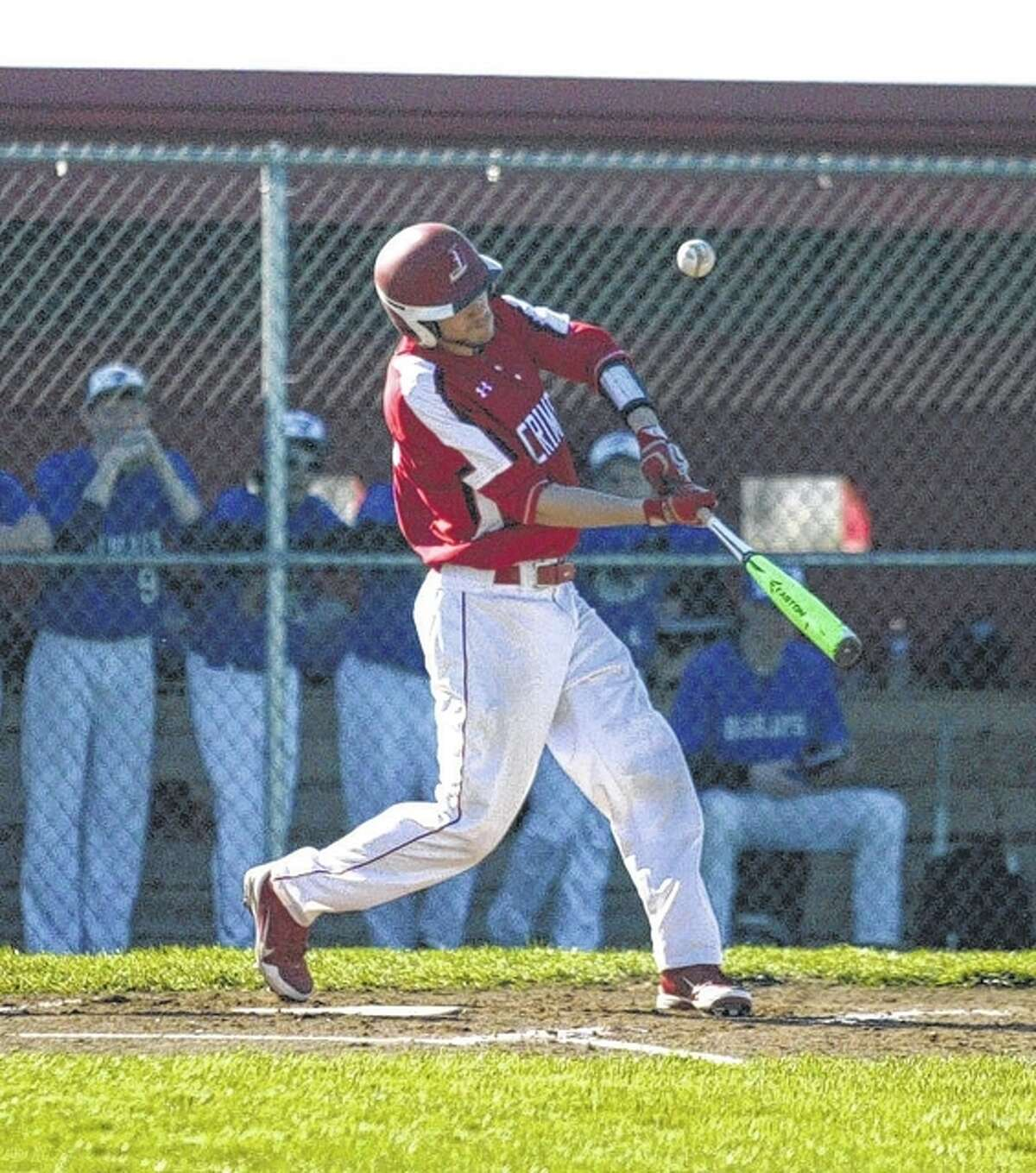 Jacksonville's Garrett Scaman takes a swing during a baseball game against PORTA/A-C Central Monday in Jacksonville.