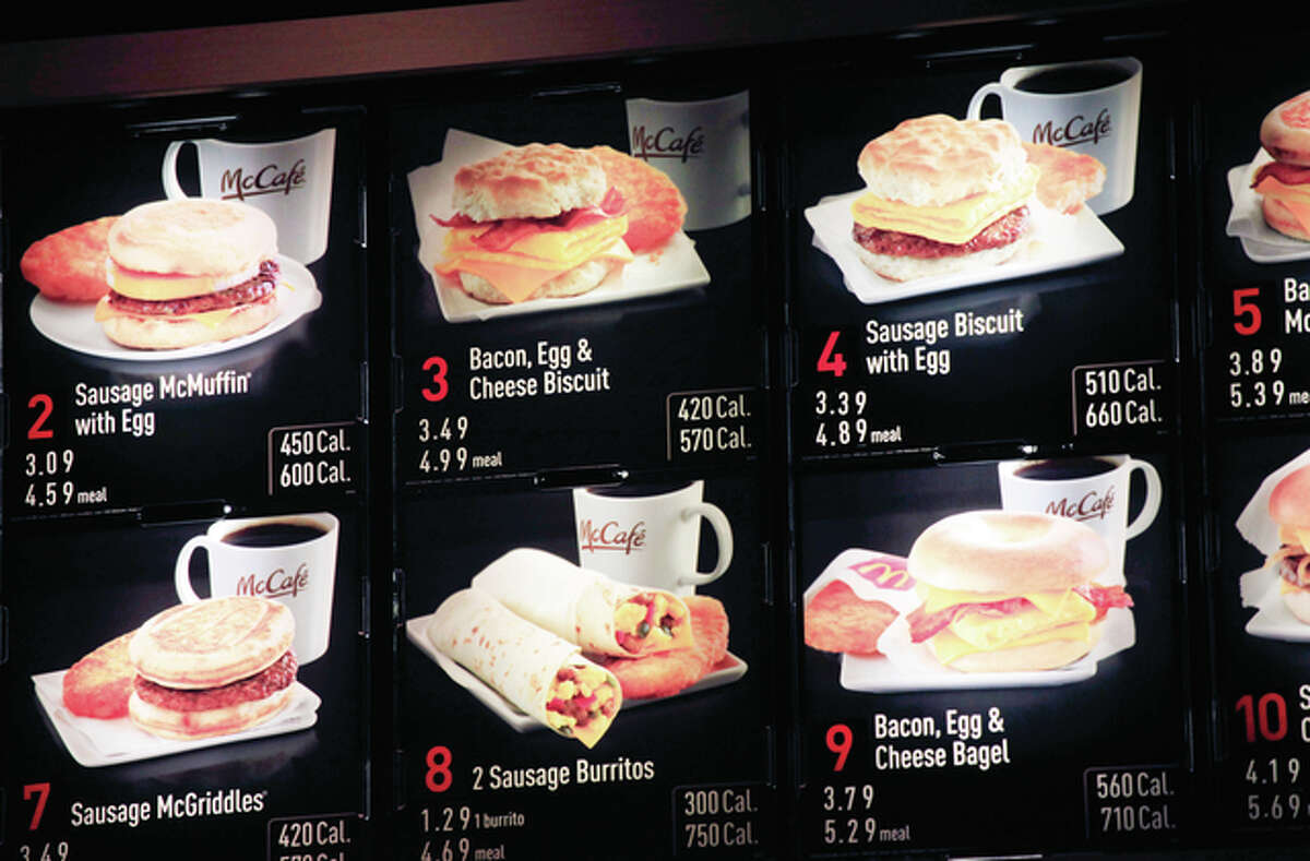 Items on the breakfast menu, including the calories, are posted at a McDonald's restaurant in New York. Wondering how many calories are in that hamburger? Chain restaurants still don't have to tell you, despite a 6-year-old law requiring calorie labels. The Food and Drug Administration said earlier this month that it will delay menu labeling rules, again, until next year. Pushback from supermarkets and convenience stores that will be required to put calorie labels on take-out foods have slowed the process.