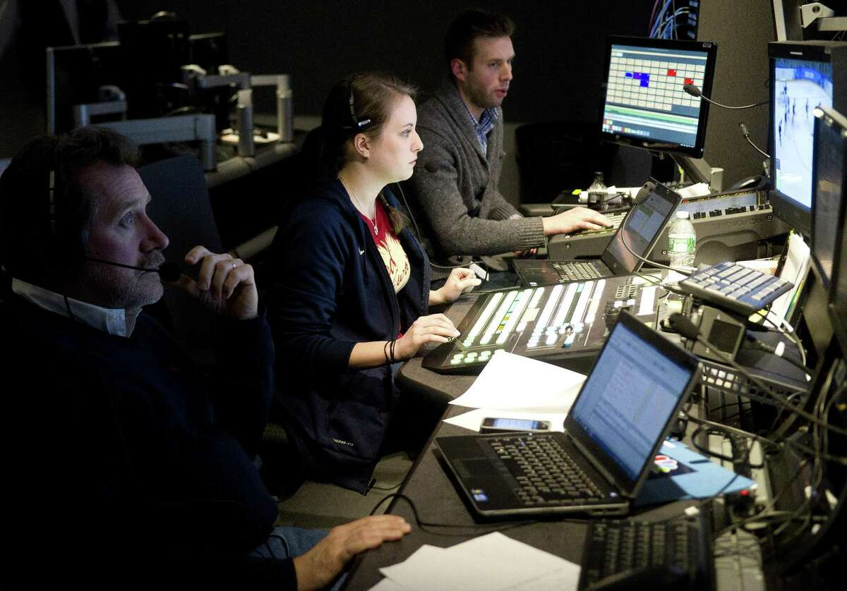 From left, Producer Wally Bruckner, Director Kristen Coleman and Audio Production Assistant Doug Matregrano work at NBC in Stamford, Conn., on Thursday, February 13, 2014.