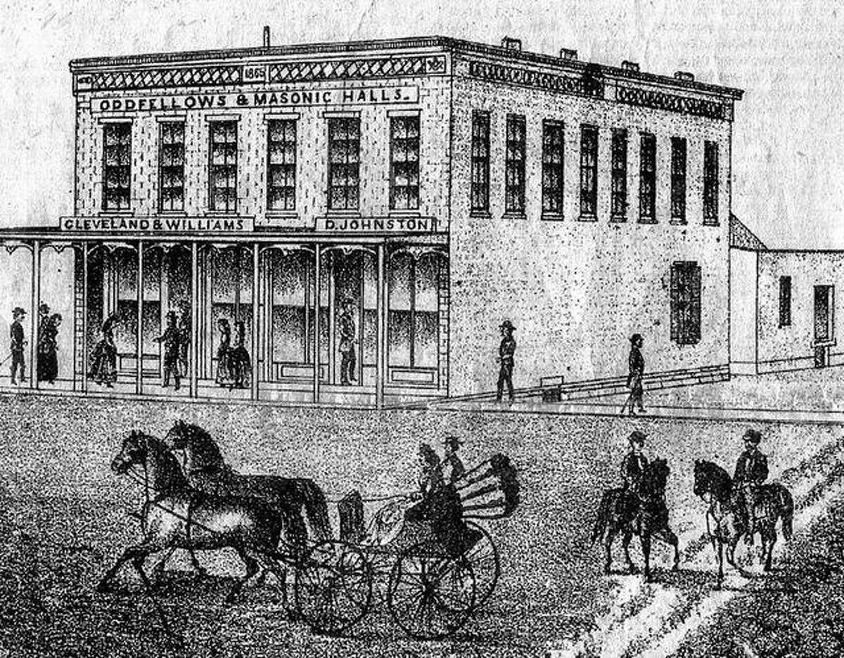 A sketch of the Union Block on Main Street in Perry that appears in the 1872 Pike County atlas.