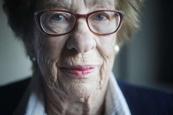 Holocaust survivor, Eva Schloss sits for her portrait inside a hotel room on Thursday Feb. 8, 2018 in Fairfax, Virginia.