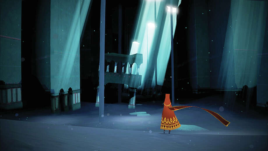 "An image from the 2012 Thatgamecompany video game ""Journey"" for PlayStation 3 shows a cloaked avatar making its way through the game. The game and its soundtrack are the basis of a Fifth House Ensemble concert Saturday at the University of Illinois Springfield's Sangamon Auditorium. Photo: Handout Photo 