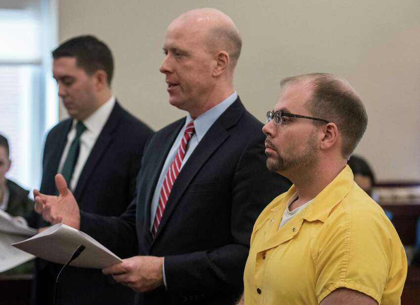 Brian Tromans, right stands with his attorney Lee Kindlon, center, as he appears in court at the Albany Judicial Center for his sentencing for leaving the scene of an accident and tampering with physical evidence after it was alleged he hit and killed another man on Watervliet Shaker Road in front of Judge Roger McDonough Friday Feb. 9, 2018 in Albany, N.Y. He received a total of 3 2/3 to 11 years. (Skip Dickstein/Times Union)