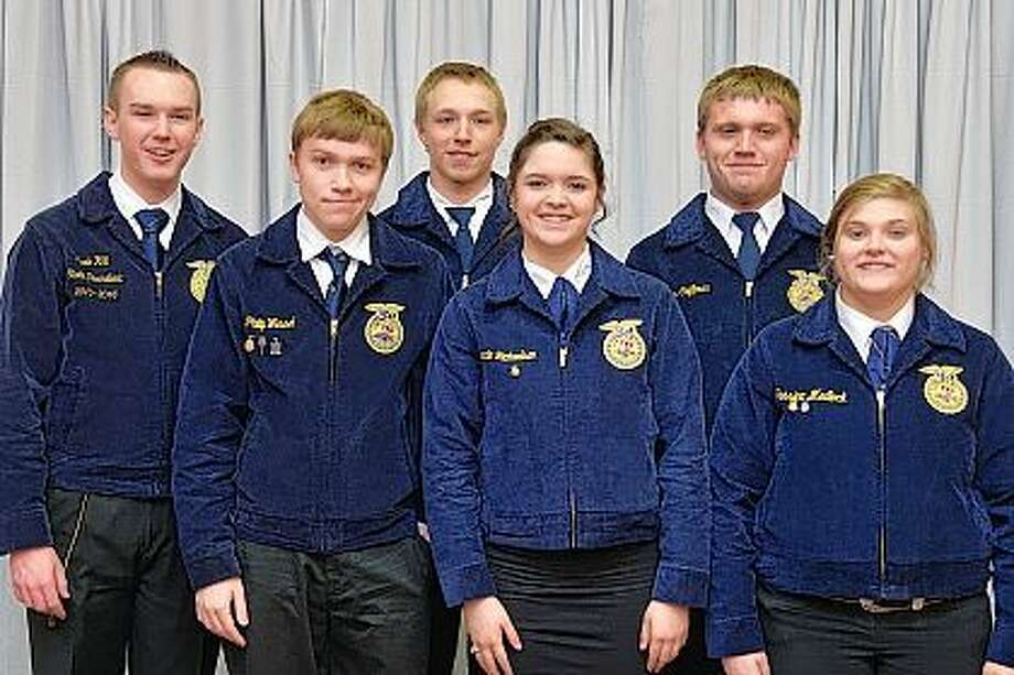 More than 350 FFA members and advisers from 74 Illinois counties attended the 2016 Illinois Farm Bureau and Affiliates youth conference April 4-5 at the Embassy Suites in East Peoria. Some of those attending from this area are pictured with FFA state President Kade Hill (left). They include Phillip Wessel, A-C Central FFA (from left); Mason Kemp, Virginia FFA; Gracie Richardson, Triopia FFA; Tyler Coffman, Virginia FFA; and Jessica Medlock, Triopia FFA. The conference offered FFA members in their junior year of high school an opportunity to learn about scholarships, internships, leadership programs, and career opportunities from community colleges, universities, agriculture commodity groups and the Illinois Farm Bureau. Photo: Submitted Photo