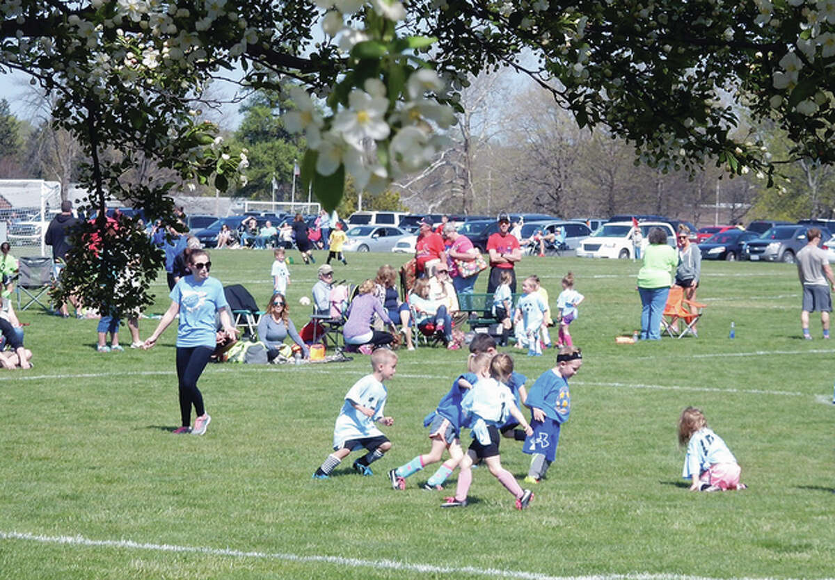 Budding soccer players will the field at Community Park.