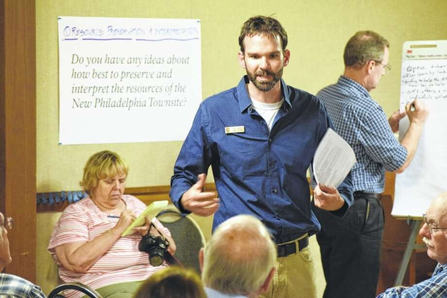 Tob Gibney, project manager for the National Park Service, takes the input of those that turned up for the New Philadelphia site open house on Wednesday. Photo: Nick Draper | Journal-Courier
