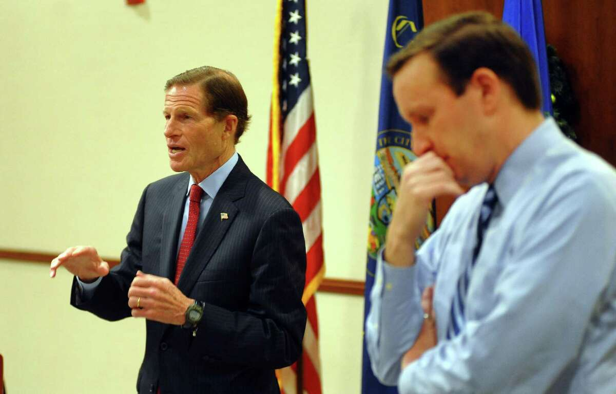 U.S. Sen. Richard Blumenthal (D-Conn.) speaks in mid-January 2018 in Bridgeport, Conn., accompanied by Sen. Chris Murphy (D-Conn.). On Feb. 9, 2018, Blumenthal and Murphy announced a tax exemption for Westport-based Newman's Own Foundation to continue its ownership of the consumer products company Newman's Own, which generates the profits the foundation donates to charities.