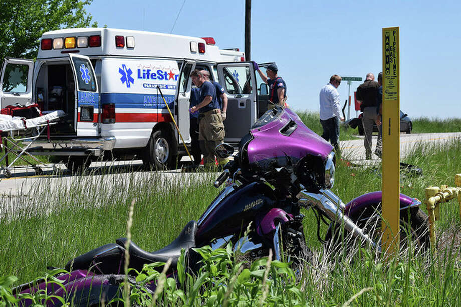 A motorcyclist was in serious condition following an accident at the Morgan-Sangamon County line about 11:10 a.m. Friday. The motorcyclist was flown by helicopter to St. John's Hospital following the accident. The driver of the vehicle that allegedly hit the motorcycle was cited for failure to yield. The names of those involved were not released Friday evening. Photo: Greg Olson | Journal-Courier