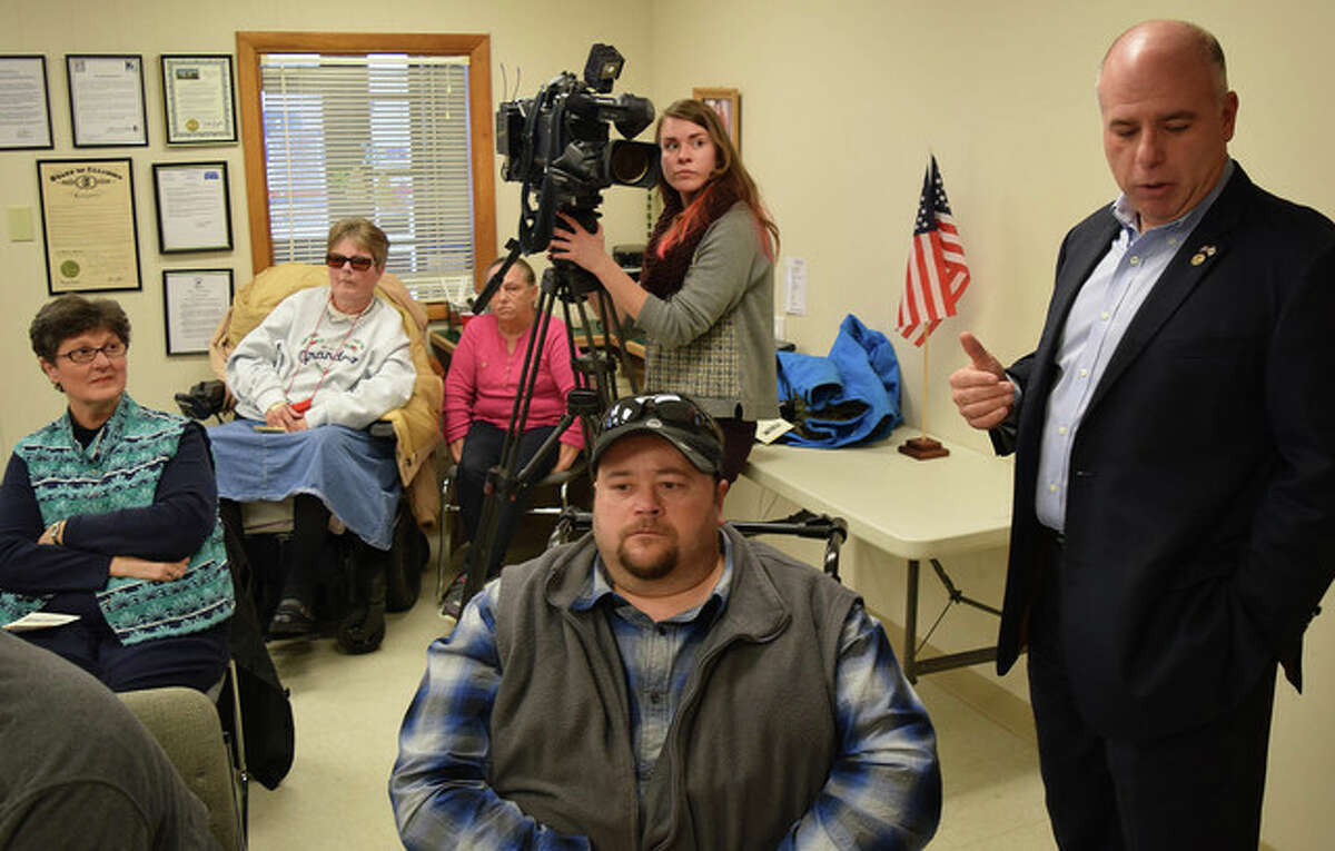 Sen. Sam McCann speaks about the ongoing state budget impasse during a meeting earlier this year at the Jacksonville Area Center for Independent Living.