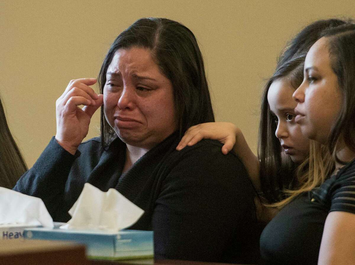 Members of the family of the late MSgt. Rudolph Seabron are grief stricken as they listen to victim impact statements in front of Judge Roger McDonough Friday Feb. 9, 2018 in Albany, N.Y. Brian Tromans received a total of 3 2/3 to 11 sentence in this case. (Skip Dickstein/Times Union)