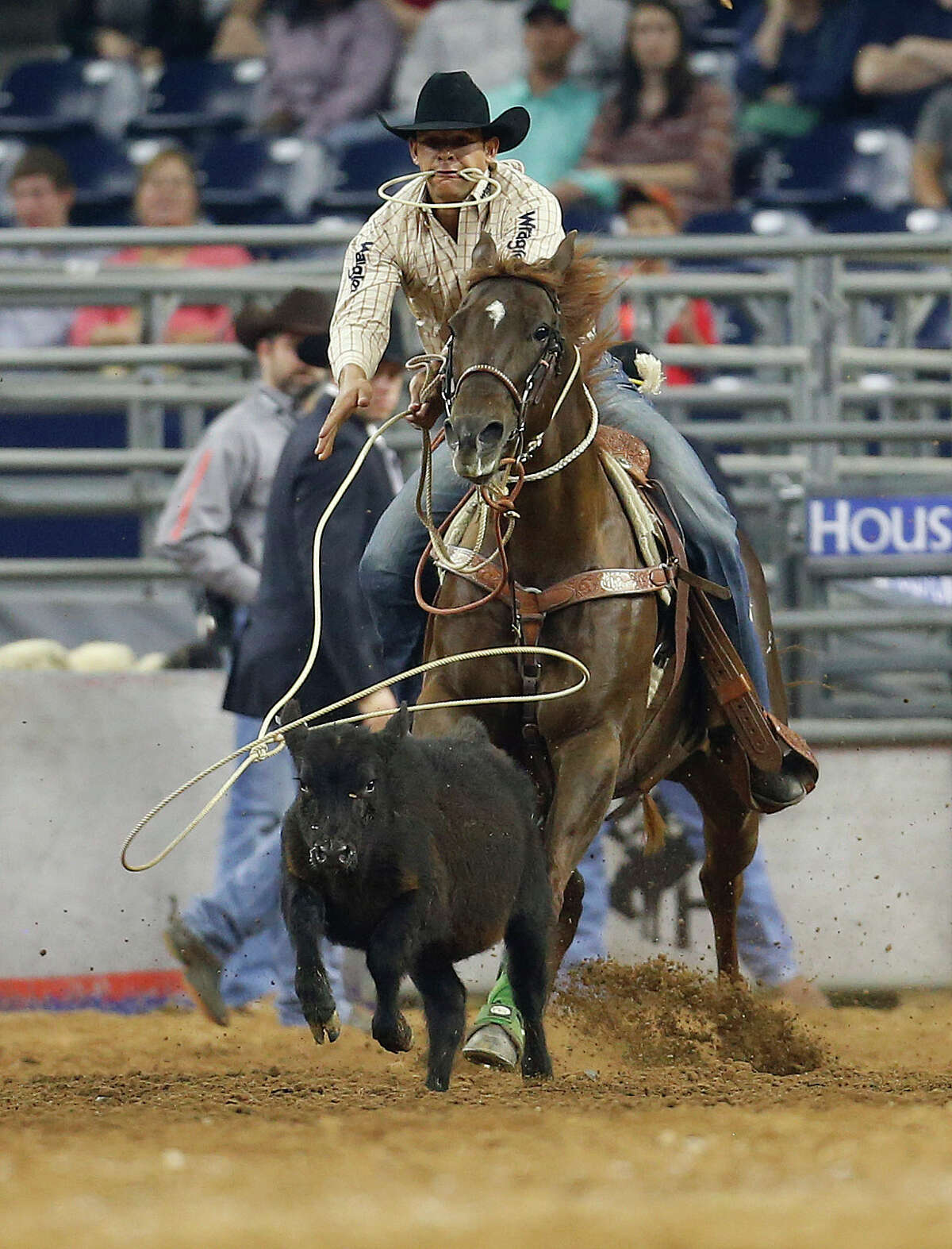 Marcos Costa competes in the tie-down roping event during the championship round of the Super Series IV at the Houston Livestock Show and Rodeo at NRG Stadium, Saturday, March 12, 2016. ( Karen Warren / Houston Chronicle )
