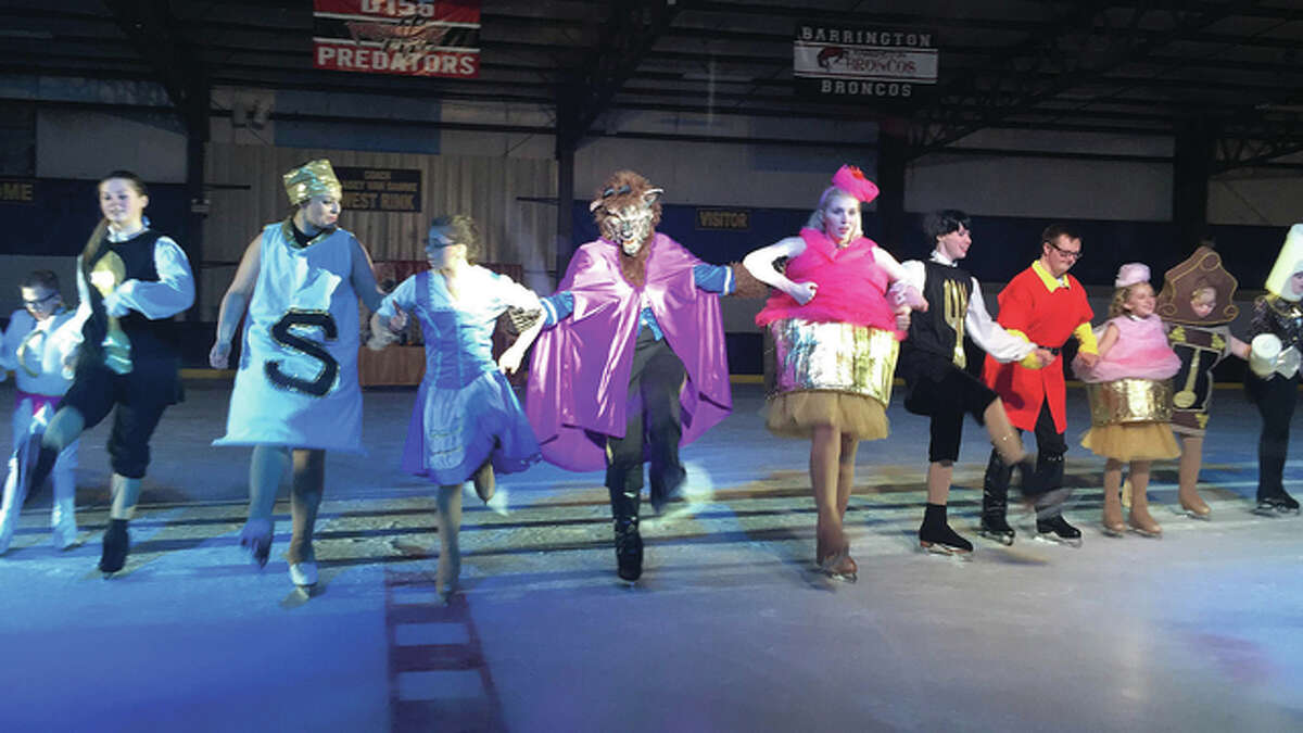 """Members of the Chicagoland Ice Theatre Inspirations team - Dale DeBarba(from left), Mackinzie Glenn, Rachael Shropshire, Mikaela Graver, Alex Karda, Erin Hart,Caysie Reuter, Ben Collins, Isabelle Stanton, Abby Stanton and Kayla Barnard - perform a kick-line during a practice of its performance of """"Beauty and the Beast."""""""