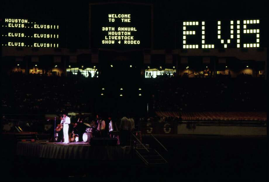Elvis Presley performs at the 1970 Houston Livestock Show and Rodeo in the Astrodome.  >>See the big names that have appeared at the rodeo through Chronicle advertisements.... Photo: Fred Bunch, HP Staff / Houston Chronicle